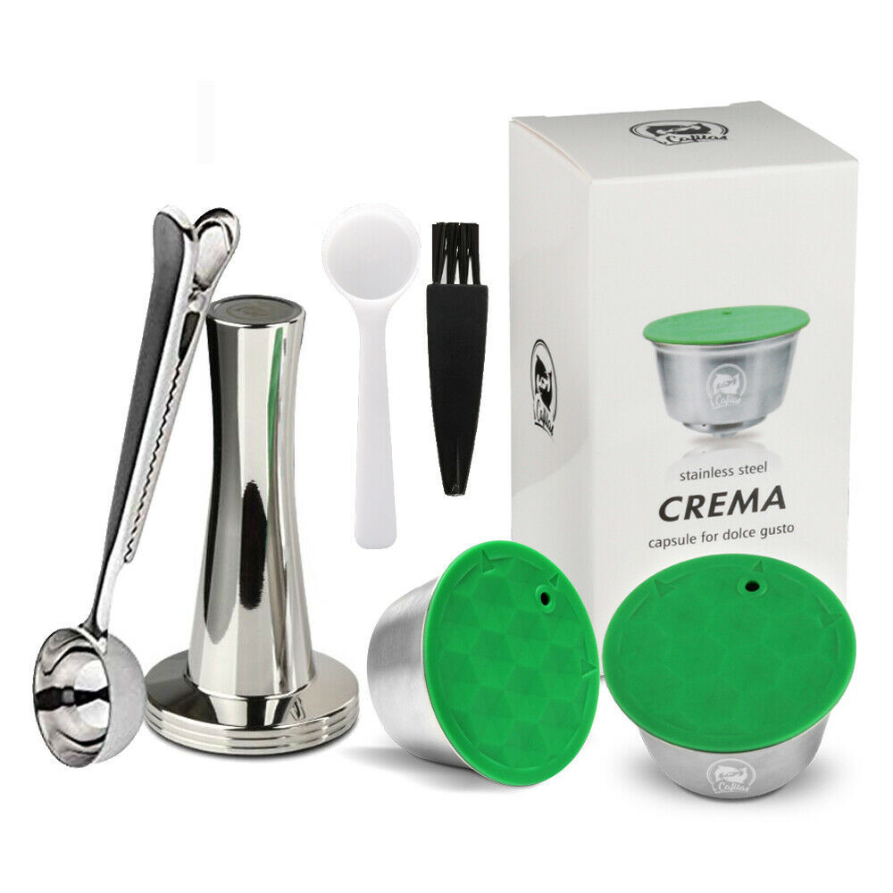 ICafilas Dolce Gusto Crema Coffee Filters Cup Dripper Stainless Steel Refillable Reusable Coffee Capsule Pod Dolci Gusto Tamper