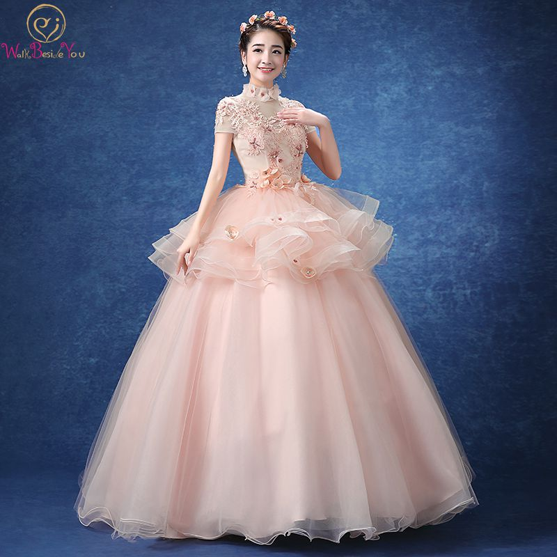 Detail Feedback Questions about Walk Beside You Pink Quinceanera Dresses  Short Sleeves Tiered High Neck Flower Lace Appliques vestidos de Asia Long  Puffy ... 4f28e1af63ab