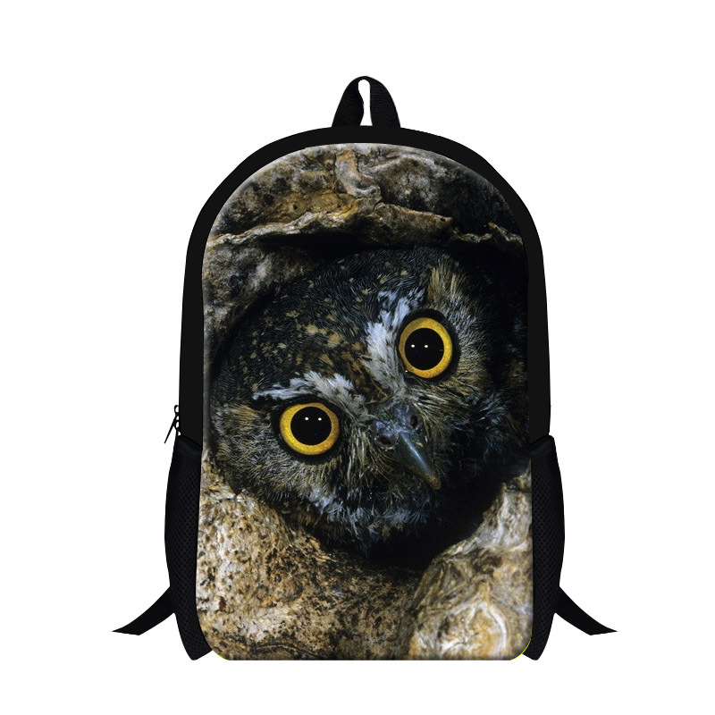 2016 new design animal owl print backpack for children teen boys cool mochila bookbags,girls school back pack Schoolbag Students