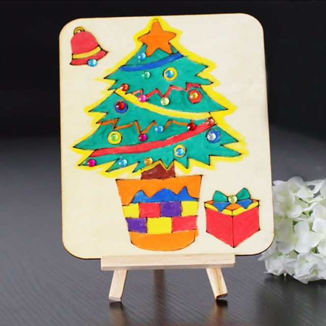 christmas gift kids wooden art easel stand christmas tree pattern drawing board display shelf