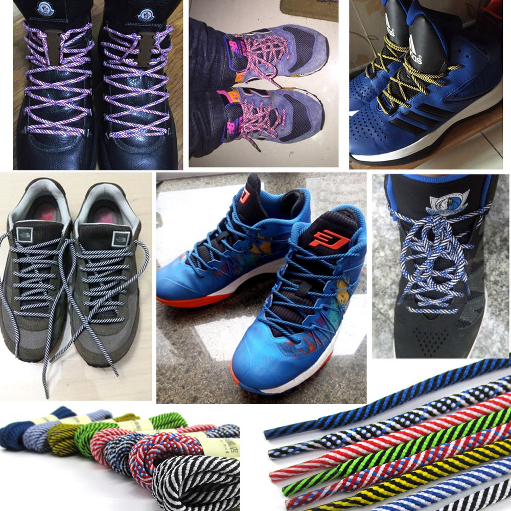 981e01904ecc YJRVFINE 2 Pair Double Color Stripe Rope Thick Round Basketball Shoelaces  Striped Shoe Laces for Sneakers Sport Shoes-in Shoelaces from Shoes on ...