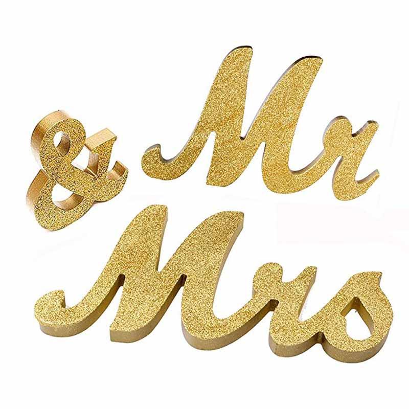 Золотой блеск Mr & Mrs знак свадьбы Милая столешницы центральным деревенский девичник Юбилей украшения подарок