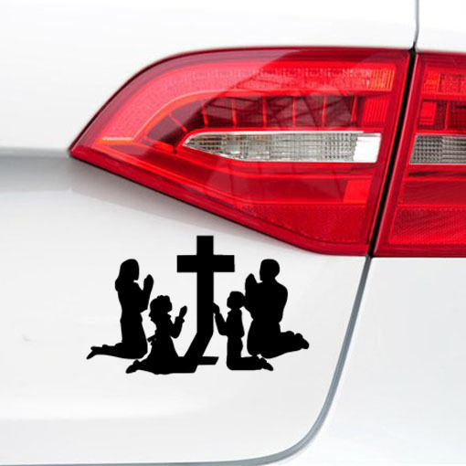 Removable wall decor family praying at the cross religion car window stickers r body bumper sticker