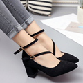 Spring Autumn Women Black sexy Shoes Double Buckle Cross-tied Pumps Woman Pointed Toe Med Heeled Office Lady dress Shoes 3001