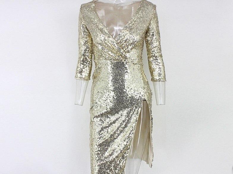 Vestido de lentejuelas doradas mujer cuello en V profundo alto Split Delgado Hip club nocturno fiesta lentejuelas vestido señora una pieza vestidos - 5