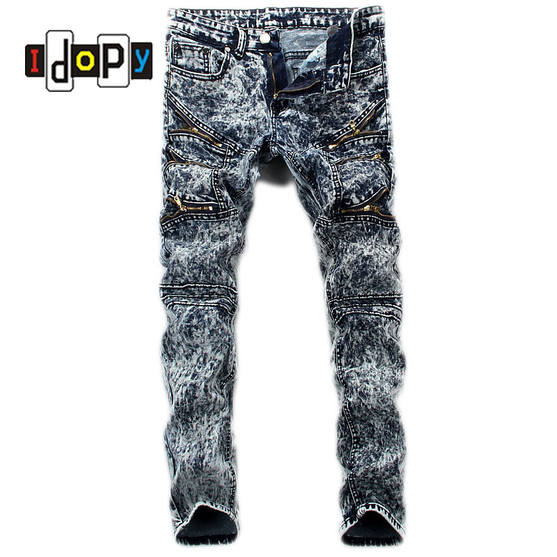Men's Retro Brand Designer Jeans Men Vintage Washed Slim Fit Jeans With Mulit Zippers Hip Hop Punk Style Denim Pants For Men summer mens retro slim fit casual jeans vintage washed street wear cargo denim shorts with holes for men