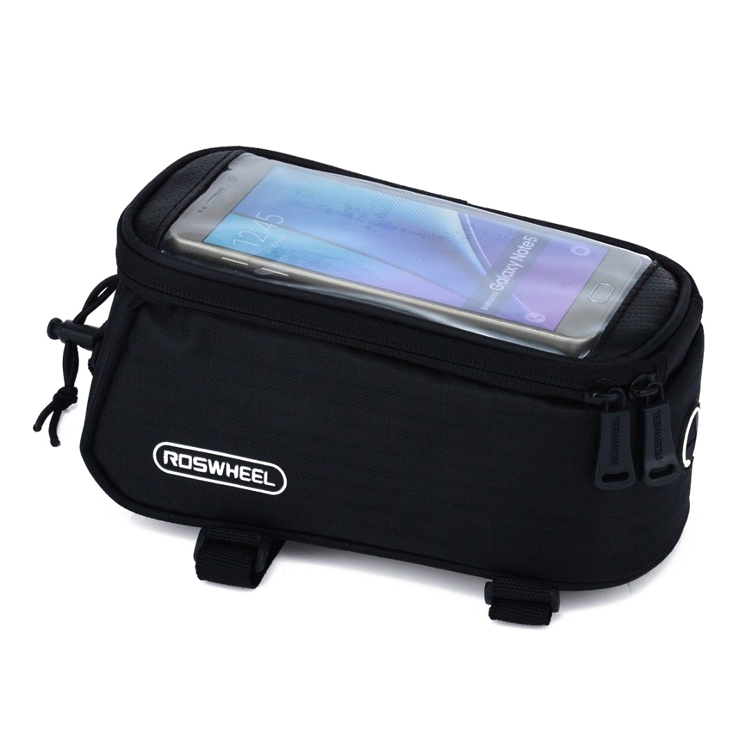 ROSWHEEL bicycle bags cycling MTB Frame Front Tube Bag for 5.5 inch <font><b>phone</b></font> with Audio Extension Line Mountain Bike Bag <font><b>Accesories</b></font>