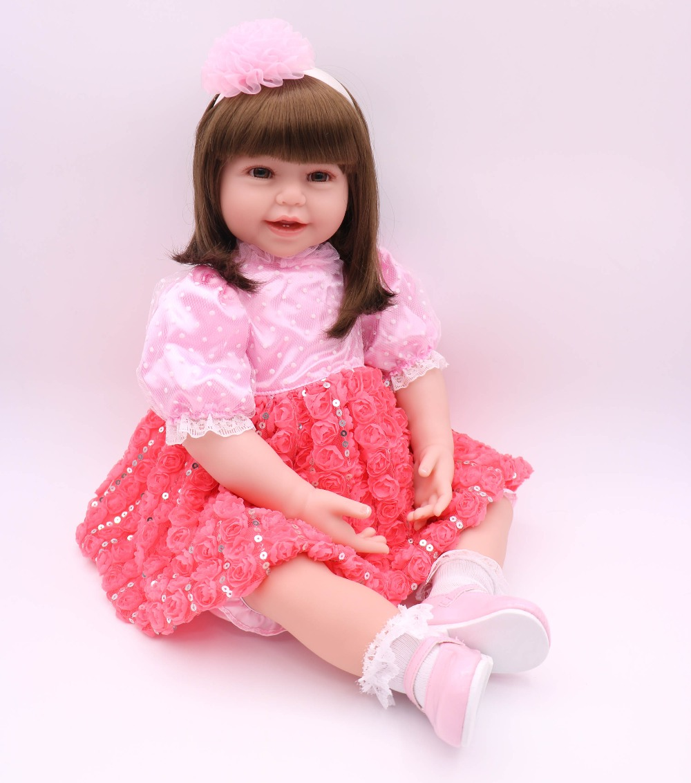 60cm Silicone reborn baby dolls toys for children kids play house princess doll gift bebe girl reborn bonecas60cm Silicone reborn baby dolls toys for children kids play house princess doll gift bebe girl reborn bonecas