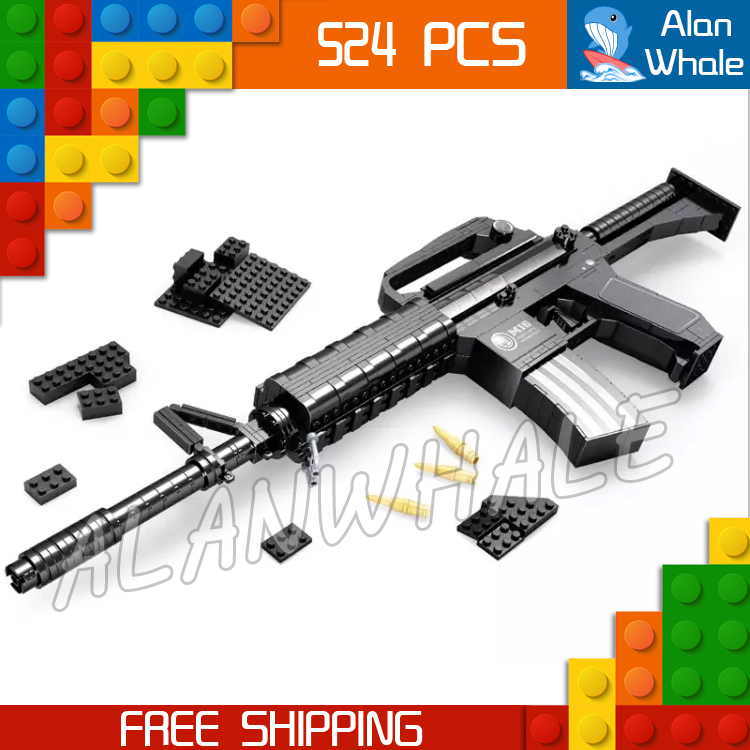 524pcs New Model M16 Toy Machine Carbine Gun Weapon For Military Assault Soldiers Building Kit Blocks Toys Compitable with Lego kazi 228pcs military ship model building blocks kids toys imitation gun weapon equipment technic designer toys for kid