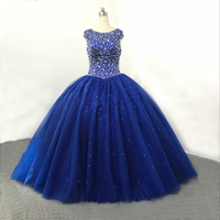 8b6627fbf Tulle Beaded Zipper Royal Blue Ball Gown Beaded Swarovski Crystals High  Collar 2019 New Fashion Sexy