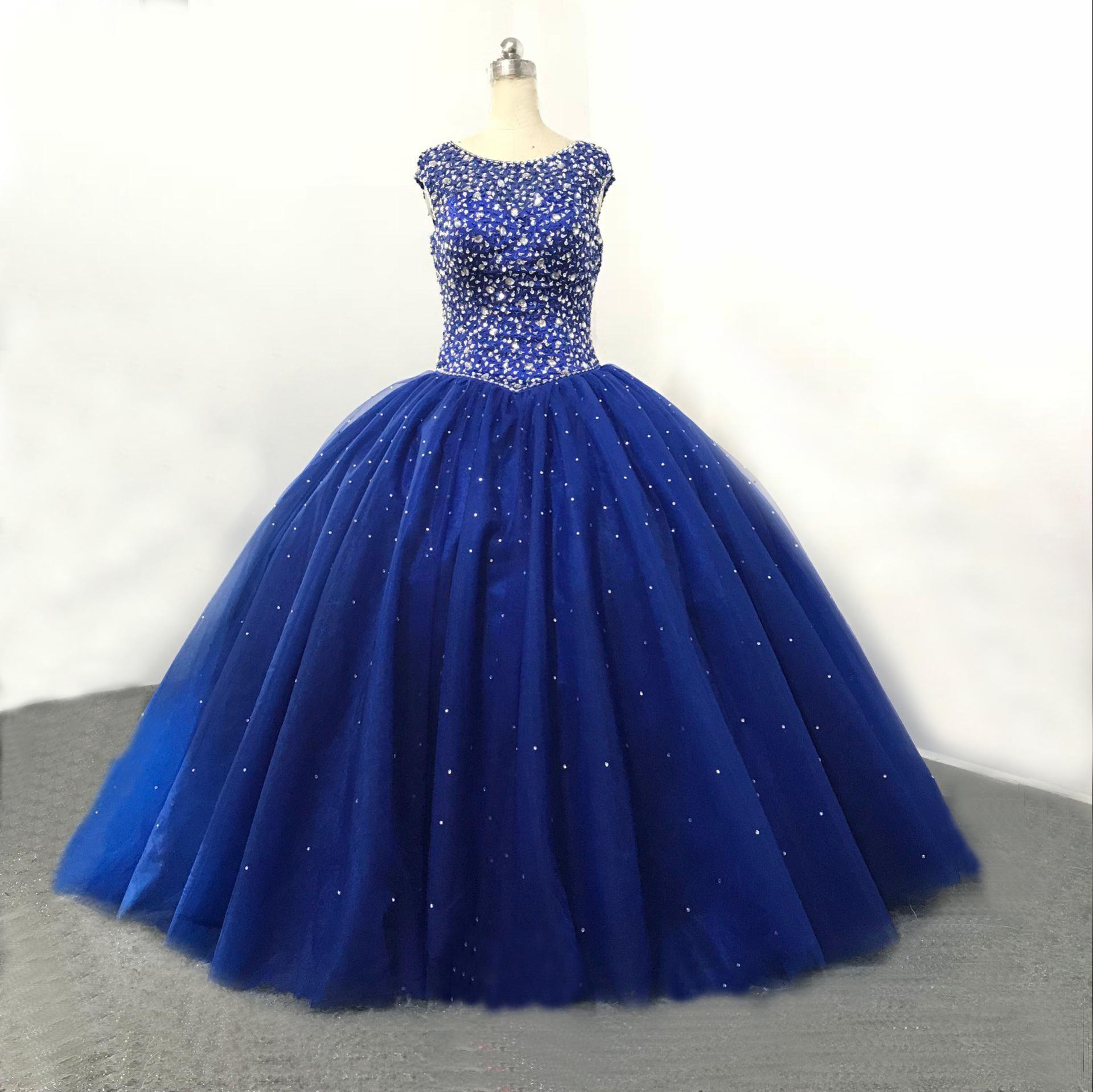Tulle perlé fermeture éclair bleu Royal robe de bal perlé cristaux Swarovski col haut 2019 nouvelle mode Sexy Anke longueur