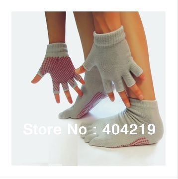 () Yoga accessories yoga socks gloves (silicone, antibacterial, prevent slippery, pure cotton absorb sweat) - Sports Store store