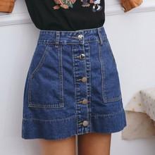 2019 Summer New High Waist Single-breasted Denim Skirts Womens Casual Big Pocket Mini Jeans Skirt Fashionable Streetwear corduroy single breasted dual pocket skirt