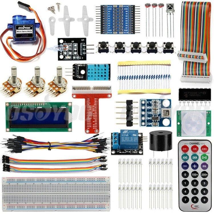 Raspberry Pi 3 Kit de démarrage ultime Suite d'apprentissage HC-SR501 capteur de mouvement 1602 LCD SG90 résistances de relais de LED Servo