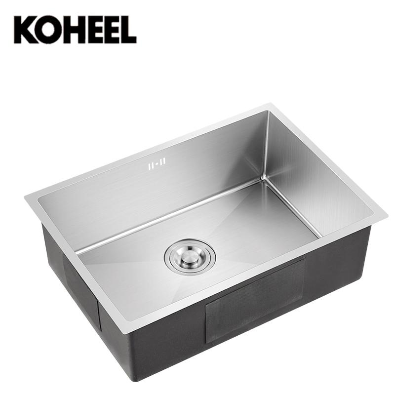 Évier de cuisine undermount Main brossé sans soudure 304 acier inoxydable bol unique grand laver la vaisselle K3