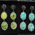 Natural 3 color double oval green blue turquoise gem stone beads charm paved rhinstones long drop dangle  earring for women