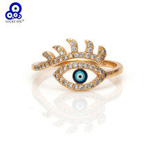 Lucky Eye Evil Eye Gold Color Rings Copper Micro Pave Cubic Zircon Ring Jewelry Adjustable Women Ring  Jewelry EY6186