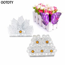 OOTDTY Europe White Metal Napkin Holder Paper Dispenser Tissue Rack Home Party Dining Table Decor