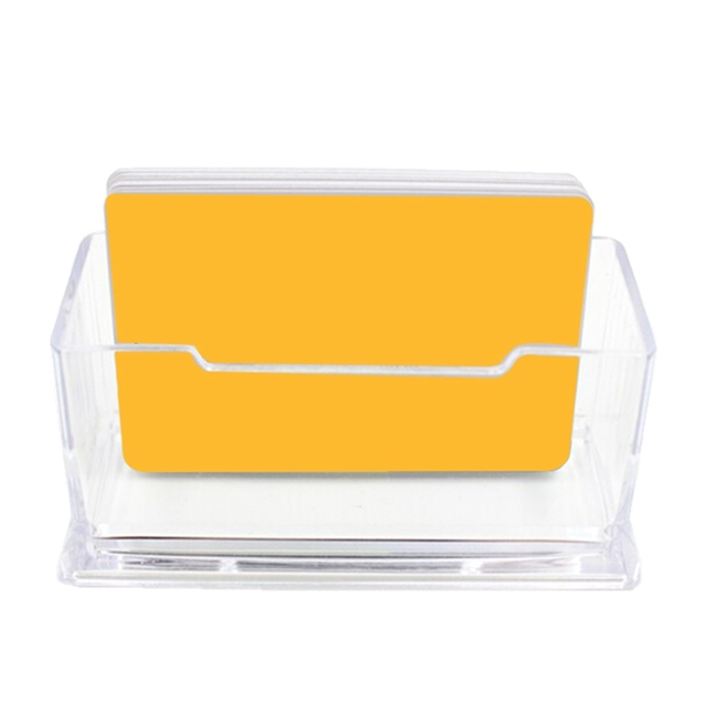 1pc clear desktop business card holder desk office organizer display stand acrylic office supplies desk accessories - Business Card Holder Desk