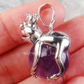 Free Shipping Beautiful jewelry Natural Amethyst Frog Ball Round Women Men Pendant Bead  PC3714