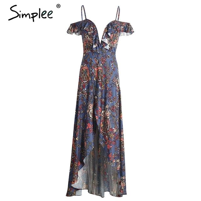 Simplee Vintage boho beach summer dress women Ruffle backless sexy  long dress Split chiffon zipper maxi dress vestidos sundress