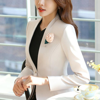 2017 autumn winter women long sleeve blazer plus size fashion office formal female jacket work wear slim outerwear Beige Black 1