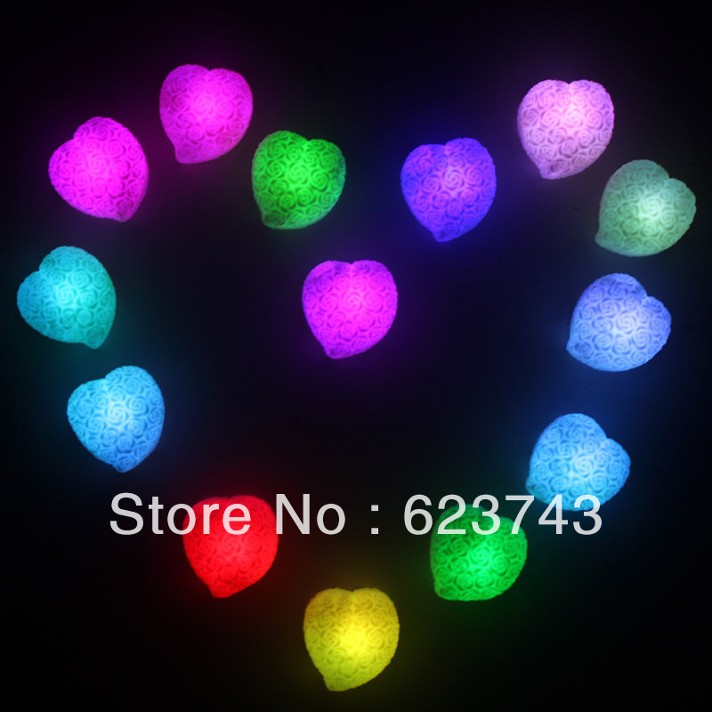 Candid 5pcs Free Shipping 7 Colors Changing Rose Heart Shaped Colorful Light Led Night Lamp Decoration Candle Lamp novelty Gift And To Have A Long Life. Lights & Lighting