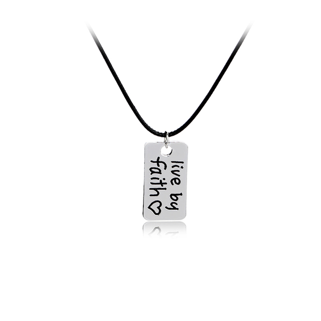 Christian necklace live by faith heart engraved inspirational words christian necklace live by faith heart engraved inspirational words pendant necklace motivational jewelry gift aloadofball Choice Image