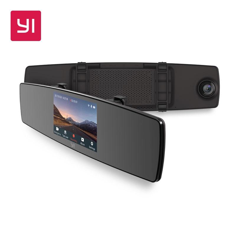 YI espejo Dash Cam Dual de la cámara del tablero de instrumentos del grabador de pantalla táctil frente vista trasera HD Cámara G Sensor de visión nocturna aparcamiento monitor
