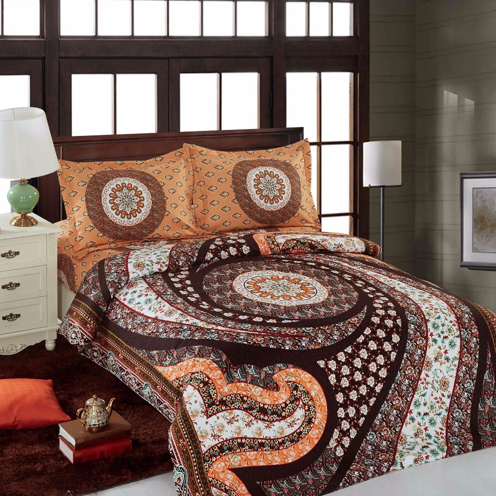 Brown and orange bedding - Moonpalace Mandala Medallion In Brown And Orange 4 Pcs Duvet Cover Set Bohemian Mandala Quilt Cover
