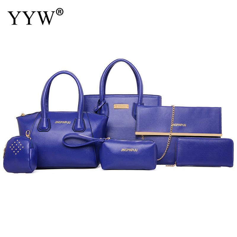 6 PCS/Set Blue PU Leather Handbags Women Bag Set Famous Tote Bag Lady Shoulder Crossbody Bags Clutch Bag Women's Pouch 5 Colors jooz brand luxury belts solid pu leather women handbag 3 pcs composite bags set female shoulder crossbody bag lady purse clutch