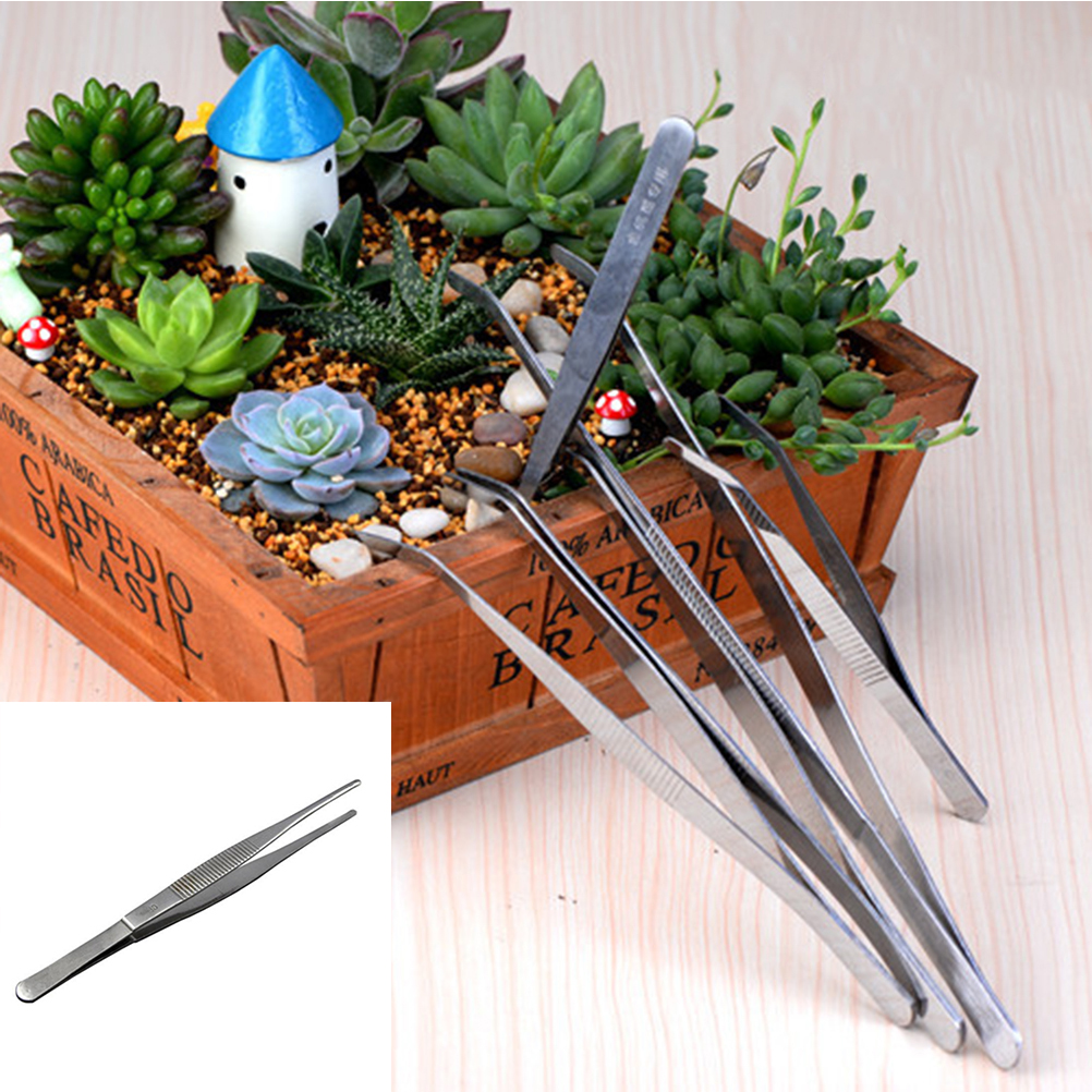 1Pcs Useful Stainless Steel Tweezer DIY Fairy Garden Craft Decoration Micro Gnome Terrarium Gift 17cm
