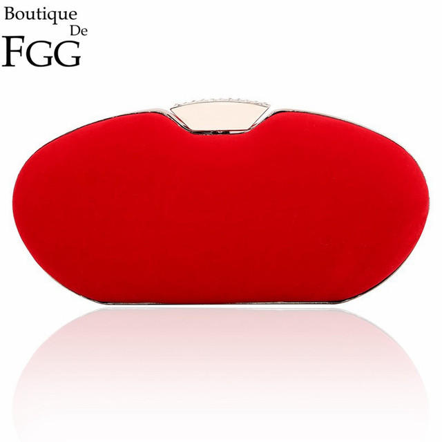 Women Brand Elegant Brides Wedding Dress Hard Case Red Velour Metal Clutch Bag Evening Prom Banquet Handbag Minaudiere Hard Case