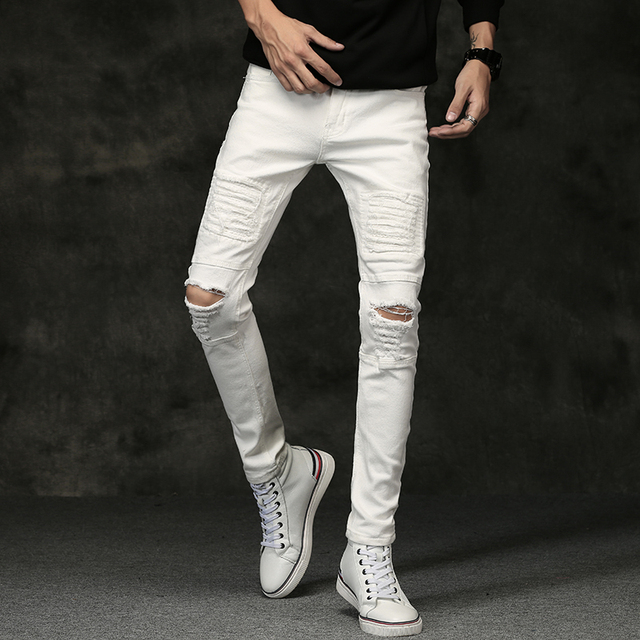 57497fb50c2 White Men Jeans Pants 2017 Autumn Mens Ripped Skinny Jeans Men Knee Hole  Stretch Black Jeans