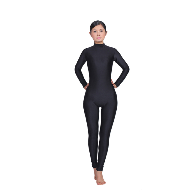 ecedaba1c76e Women Long Sleeve High Neck Unitard Zipper Back Bodysuit Lycra Spandex  Jumpsuit GymnasticYoga Ballet Dance Unitard