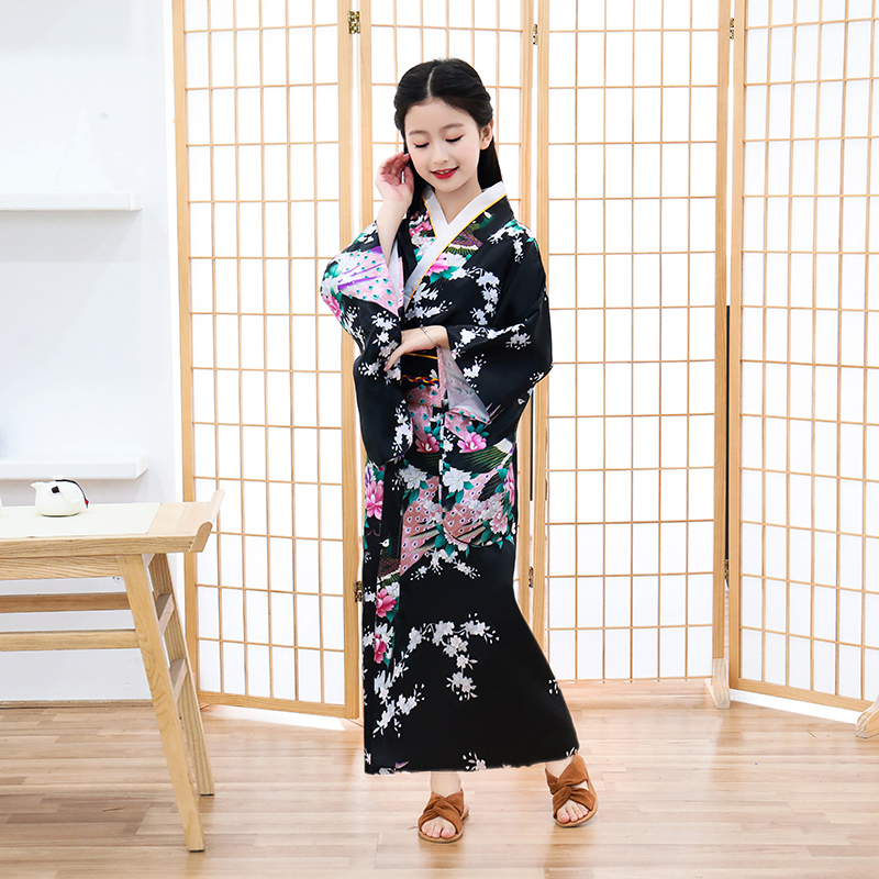 Child Novelty Cosplay Floaral Dress Japanese Baby Girl Printing Kimono Dress Children Vintage Yukata Kid Girl Dance Costumes