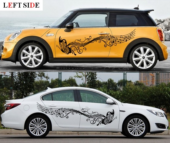 Left side car stickers black car charger floral car body stickers graceful music butterfly flower rattan waterproof vinyl fresh in car stickers from