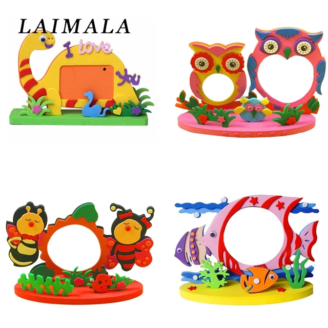 Easy Crafts Eva Sticky Sticker Animal Photo Frames Frame Foam Craft Kits Child Creative Activity Diy
