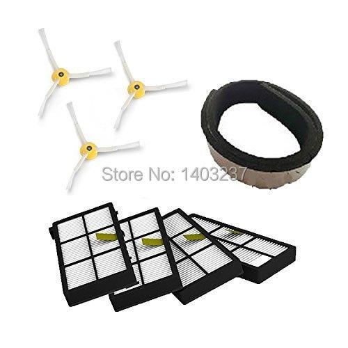4 x HEPA Filter & 3 x 3-armed side brush For iRobot Roomba 800 series 870 880 Vacuum Cleaning Robots 900 series 980 потребительские товары other 3 irobot roomba 800 880 870 47370