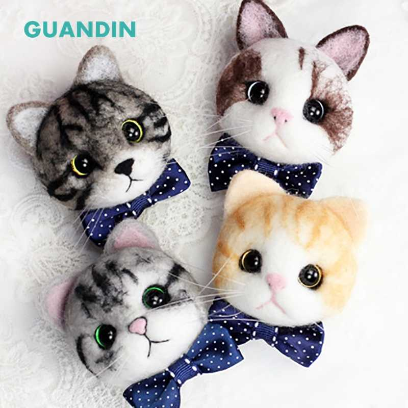 GUANDIN,1Piece/Pack Non-Finished Cartoon Cat Head Wool Felt Doll DIY Creative Handmade Materials Tissue Of Lovely Soft