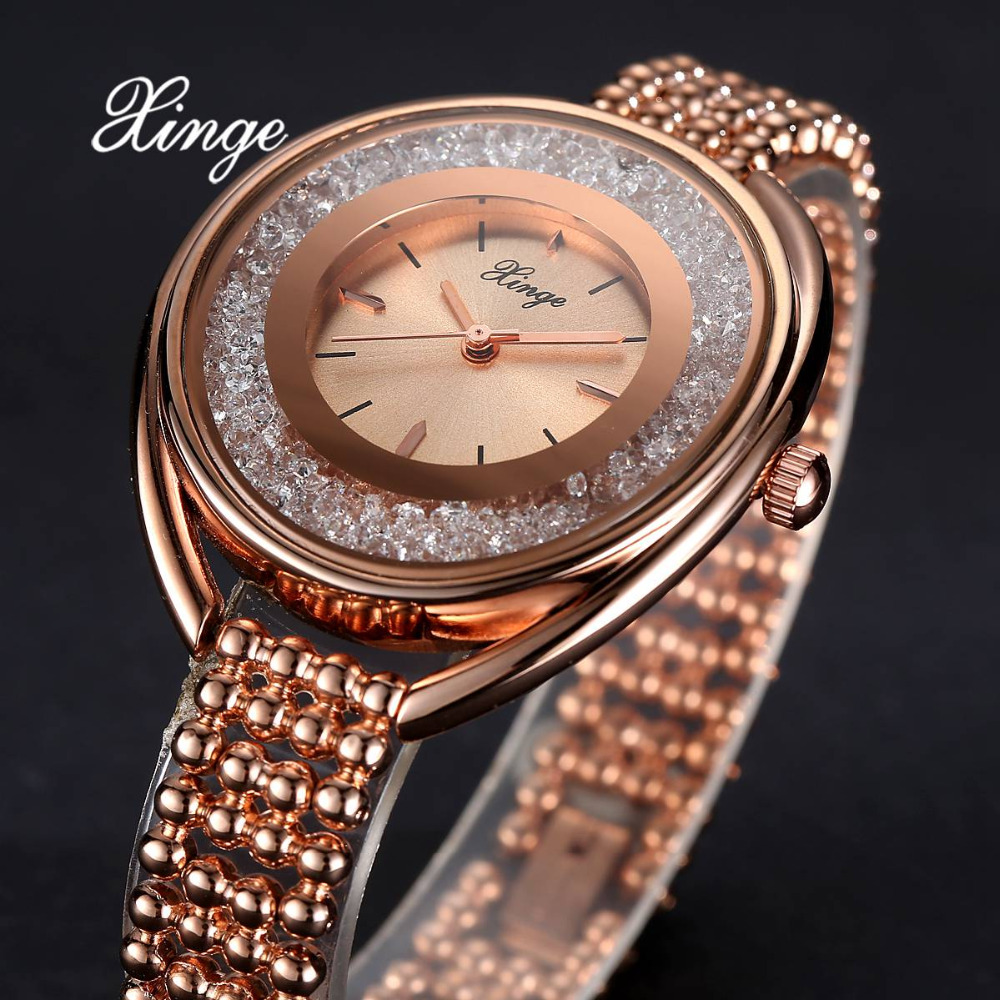 Xinge Top Brand Luxury Zircon Wrist Watch Ladies Dress Watches Women Bracelet Stainless Steel Quartz Watches Relogio Feminino 2016 luxury golden women dress wrist watches brand womage ladies ultra slim stainless steele mesh mini bracelet quartz watch