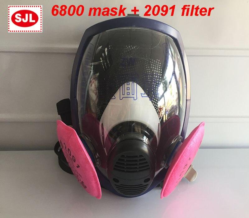 Haute qualité masque respiratoire 6800 masque + 3 M 2091 filtre respirateur masque anti-poussière contre la poussière fumée filtre masque