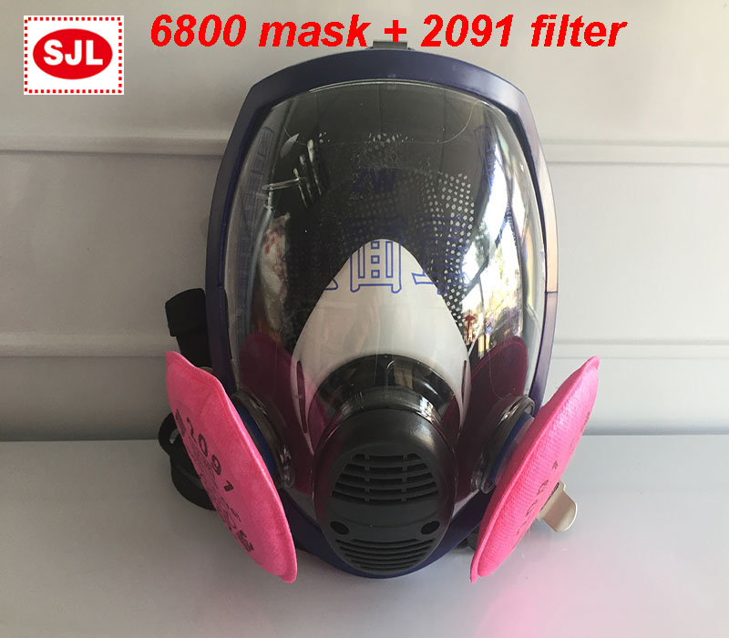 high quality respirator mask 6800 mask + 3M 2091 filter respirator dust mask against dust smoke filter mask provide respirator dust mask high quality gray dust mask 10 piece filter cotton painting welding respiration mask