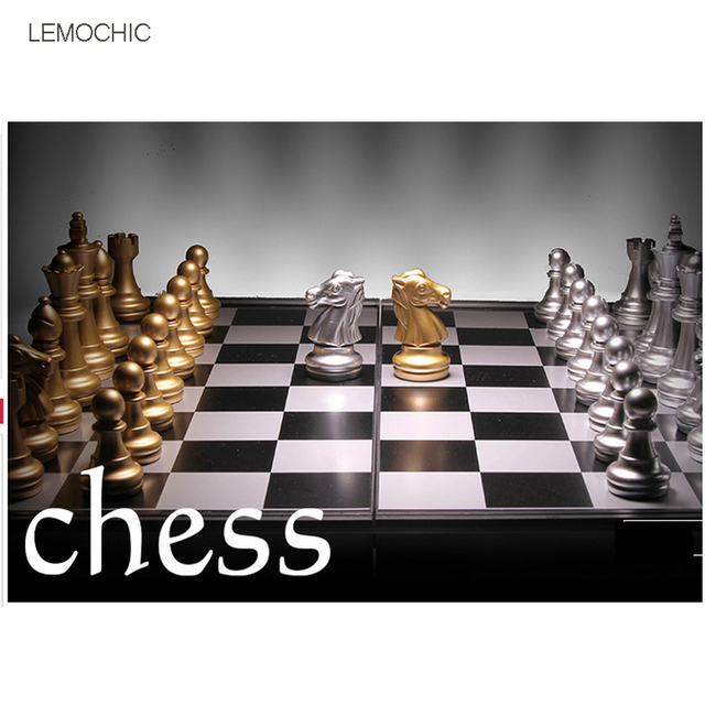 LEMOCHIC  Magnetic chess Silver & gold pieces chess Folding magnetic board foldable board Free Shipping board games for families