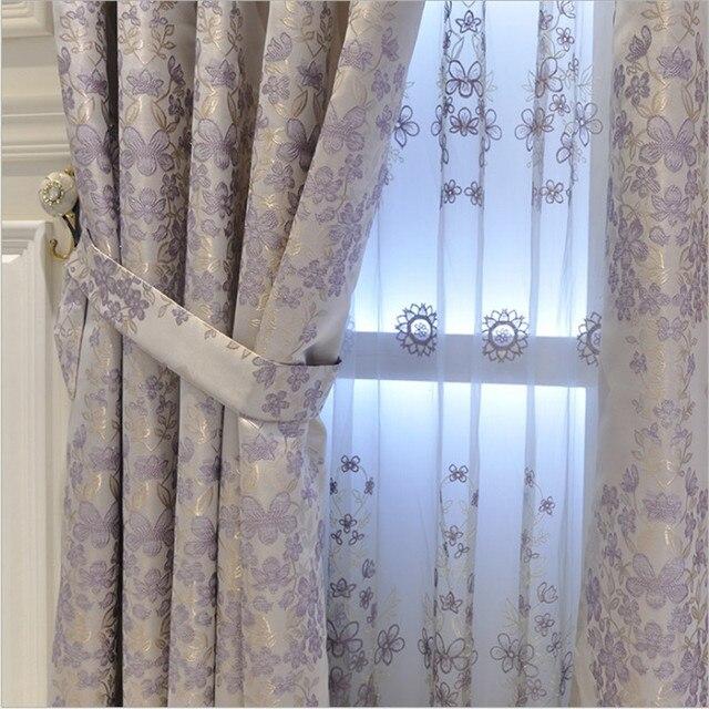 Moderne Lila Grau Screening Fenster Vorhänge Tuch Voile Tulles Für  Schlafzimmer Baumwolle Vorhänge Wohnzimmer Heißer Verkauf