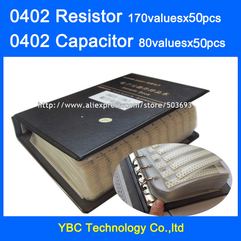 0402 SMD Resistor 0R~10M 1% 170valuesx50pcs=8500pcs + Capacitor 80valuesX50pcs=4000pcs 0.5PF~1UF Sample Book