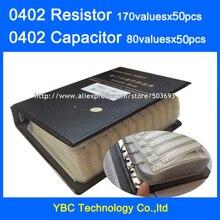 0402 SMD Widerstand 0R ~ 10M 1% 170valuesx50 stücke = 8500 stücke + Kondensator 80valuesX50 stücke = 4000 stücke 0.5PF ~ 1UF Probe Buch