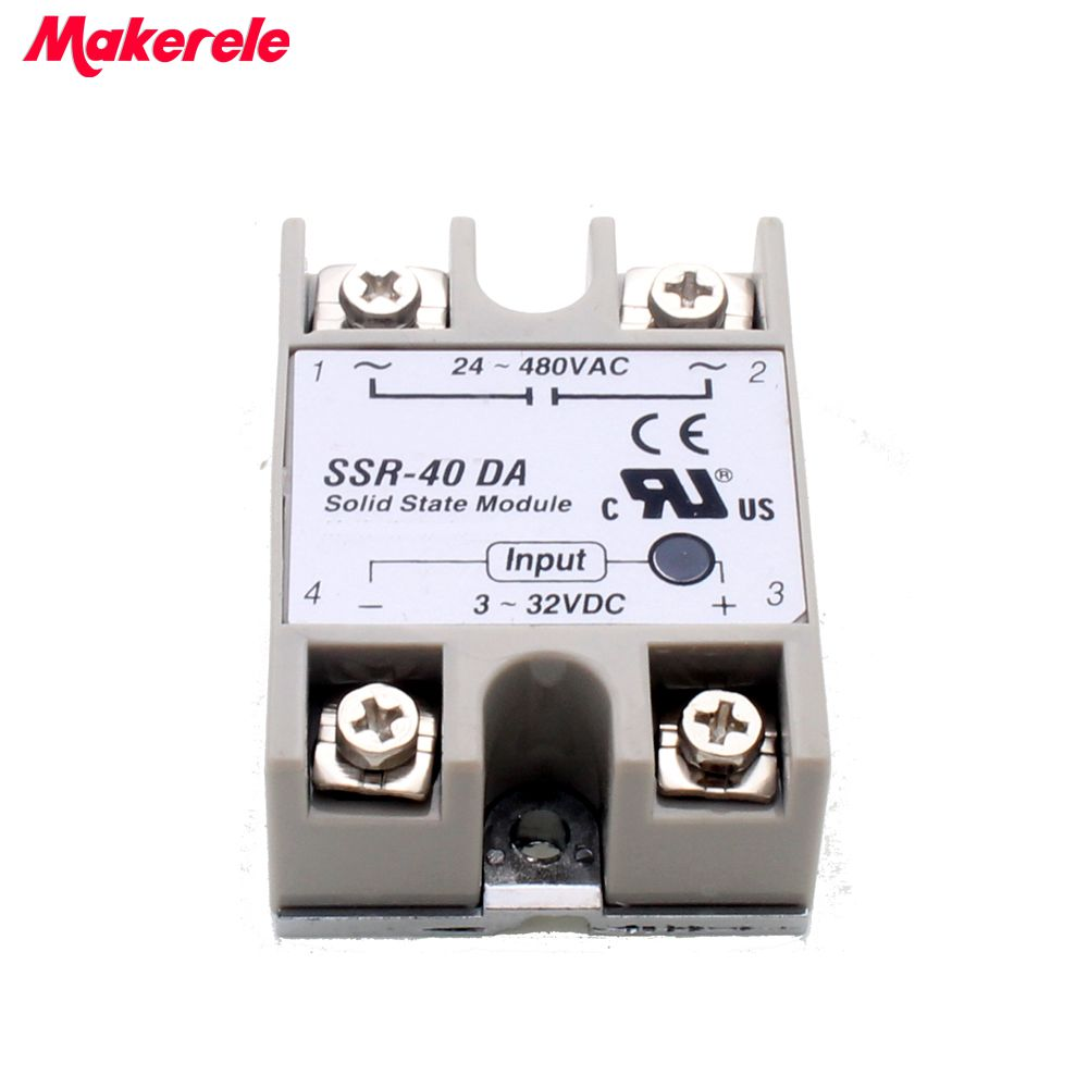 24V-380V 40A 250V SSR-40DA Solid State Relay Module 3-32V DC To AC SSR-40 DA SSR 40A Makerele