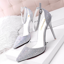 Women Pumps Sexy High Heels Shoes Woman Silver Rhinestone Wedding Shoes High Heels Party Shoes Summer Hight Heels Sandals 305-3