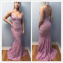 robe de soiree Dusty Pink Lace Evening Dresses Long 2019 Sexy Deep V Neck Open Back Imported Party Dress Mermaid Formal Gowns